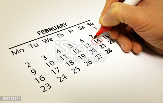 Valentine's Day marked on a calendar with red pen