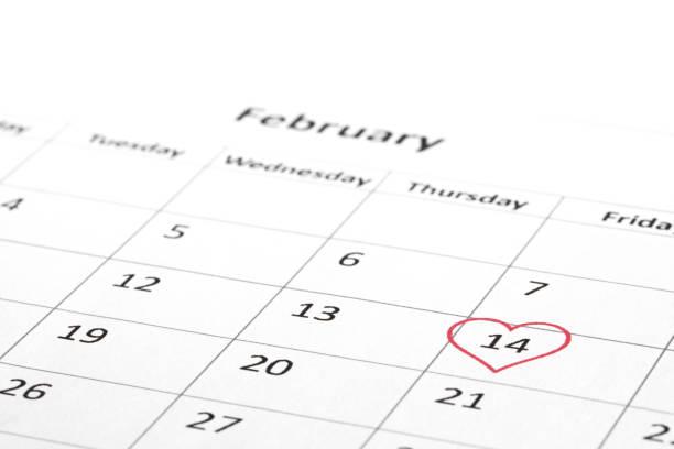 Valentine's day marked on calendar stock photo