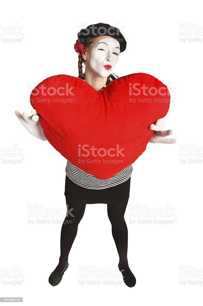 Valentine's day mime portrait royalty-free stock photo