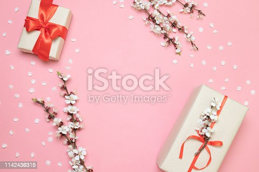 680461500istockphoto Valentines day, mothers day, womens day concept. Flat lay, top view, copy space 1142436315