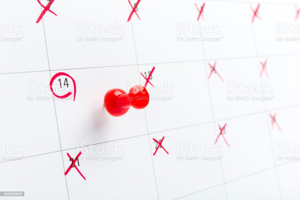 Valentines day on calendar with red pin stock photo