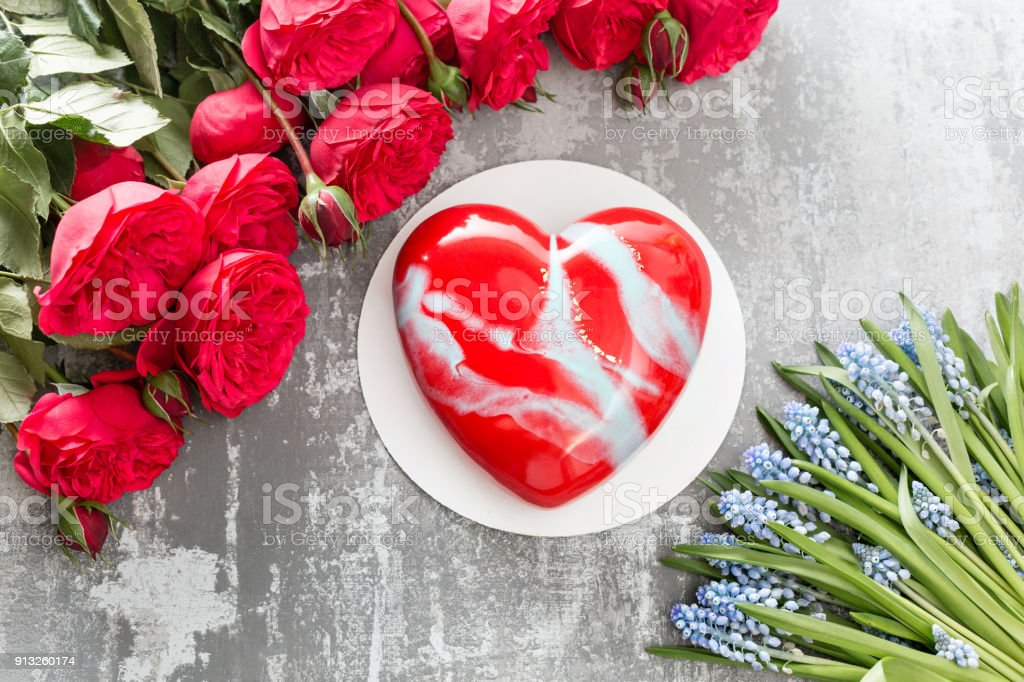 Valentines Day Or Birthday Greeting Card Cake In The Form Of A Red Heart