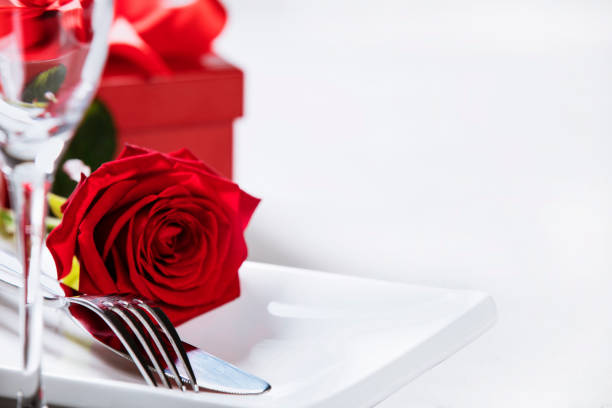Valentine's Day or romantic dinner concept, close up stock photo