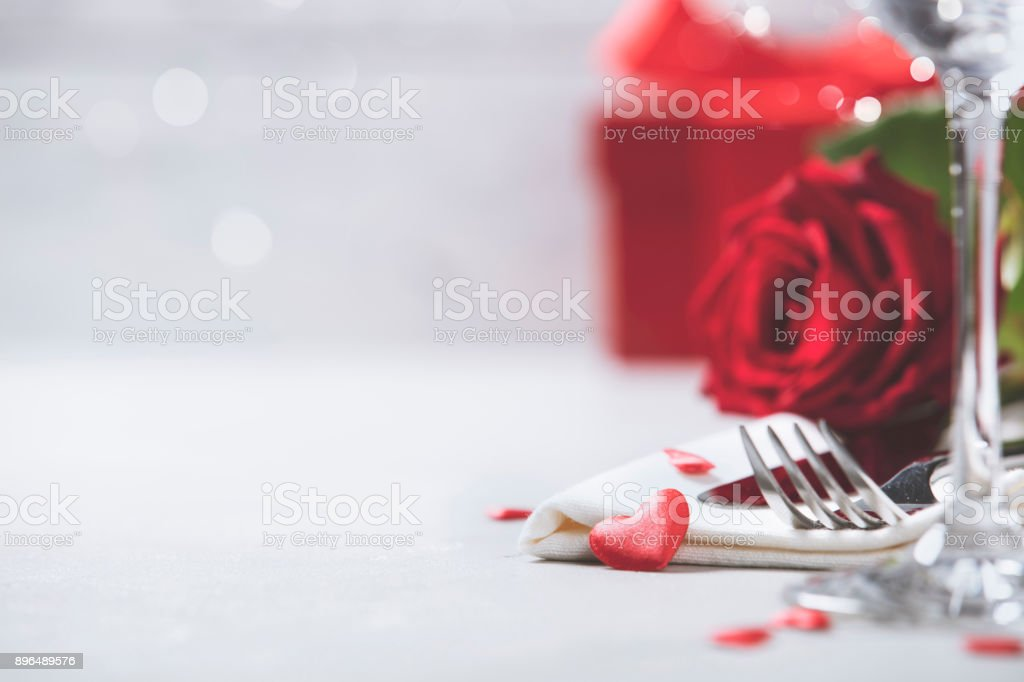 Valentine's Day or romantic dinner concept stock photo