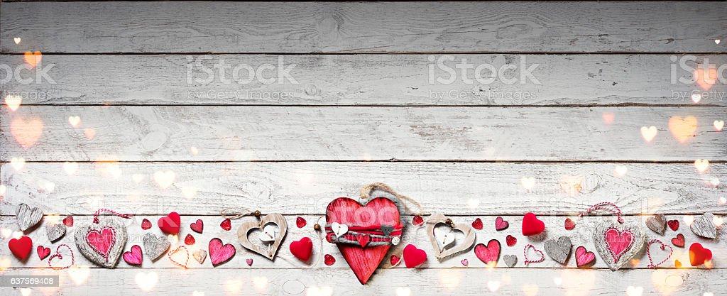 Valentines Day Ornament On Vintage Wooden Plank stock photo