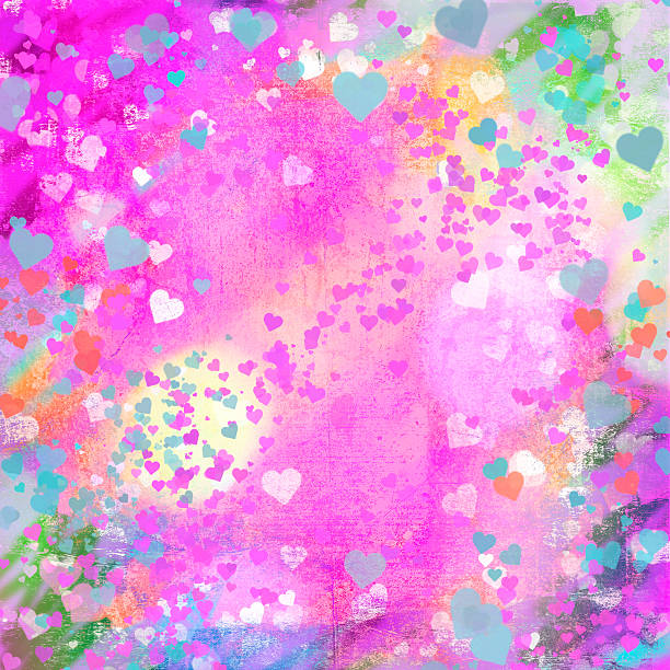 Valentines Day pastel grunge hearts abstract background stock photo
