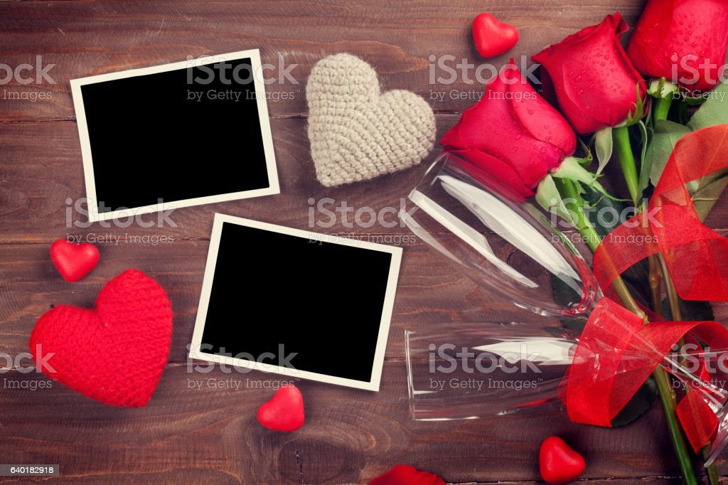 Valentines Day Photo Frames Champagne And Red Roses Stock Photo