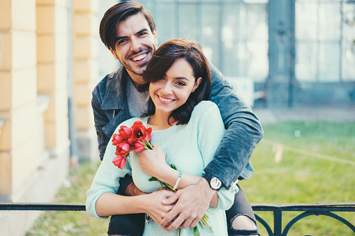 Smiling couple's portrait on Valentine's day