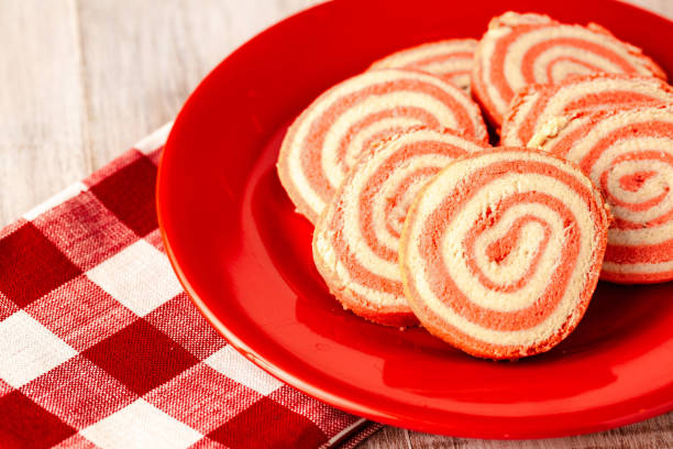 Valentine's Day Pinwheel Cookies on Red Plate stock photo