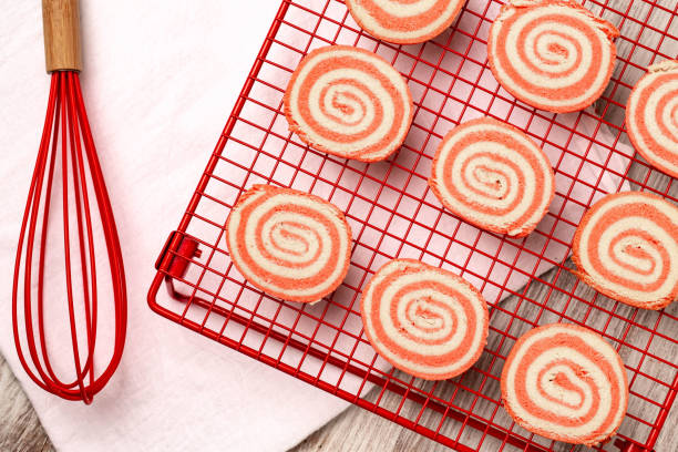 Valentine's Day Pinwheel Cookies With Whisk stock photo