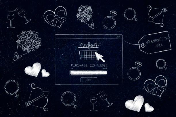 valentinstag pop-up mit kauf abgeschlossen und symbole der liebe - pop up stock-fotos und bilder
