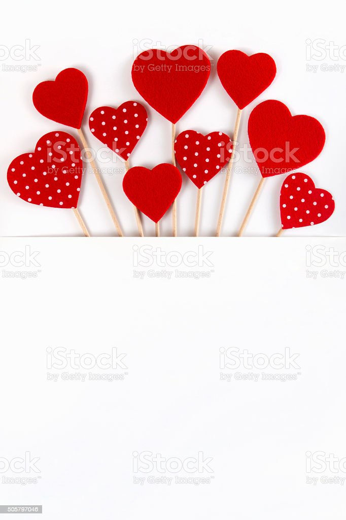 Valentine's Day Red Hearts in White Pocket Design stock photo