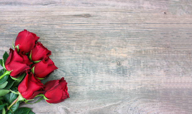 Valentine's Day Red Roses Over Wood Background stock photo