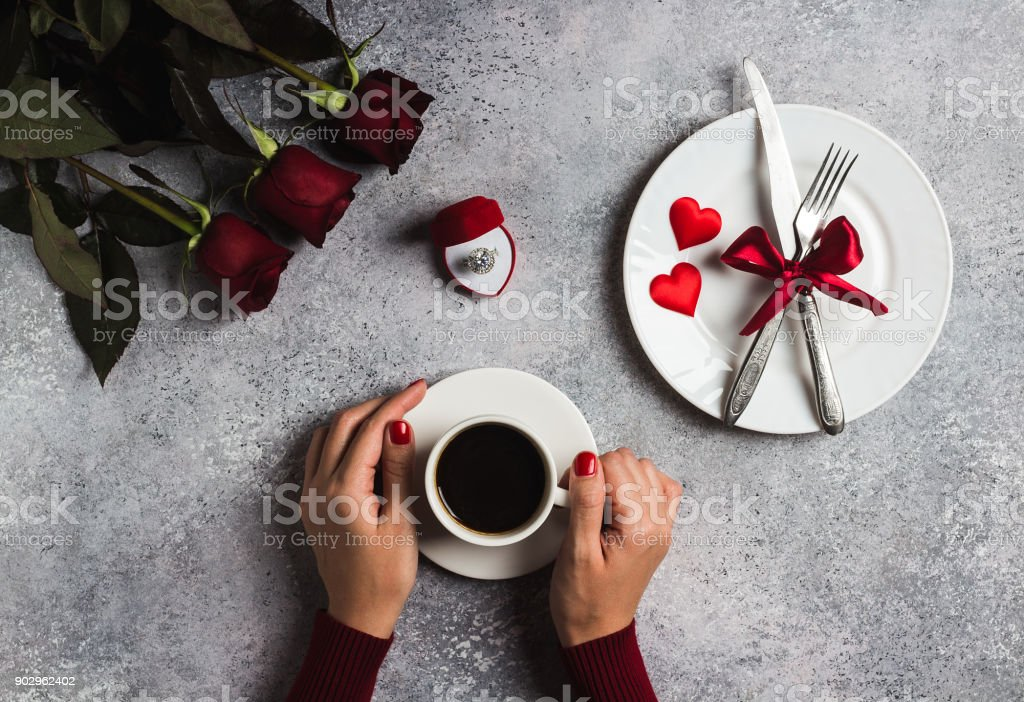 Valentines day romantic dinner table setting woman hand holding cup of coffee royalty-free stock & Valentines Day Romantic Dinner Table Setting Woman Hand Holding Cup ...
