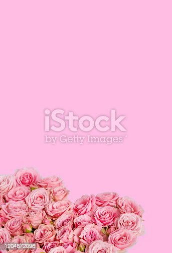 507397624 istock photo Valentine's day romantic greeting card. Composition with a heart of pink roses on a pink background.Mothers day. 8 Marth. Banner for advertising store, website, posters, advertising, coupons.vertical 1204872098