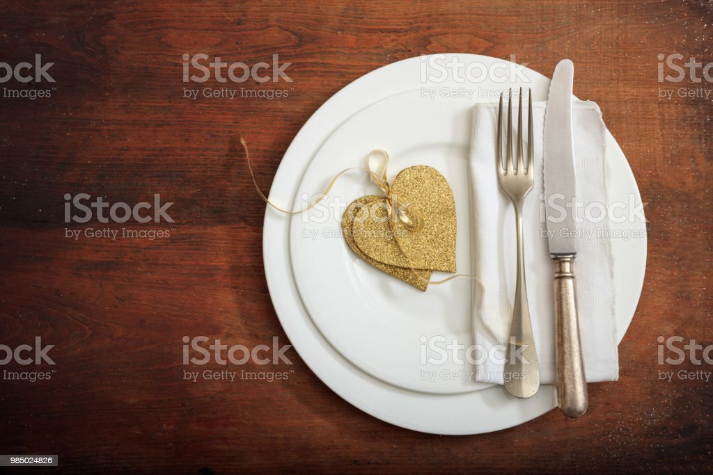 Valentines Day Romantic Place Setting On Wooden Background Stock