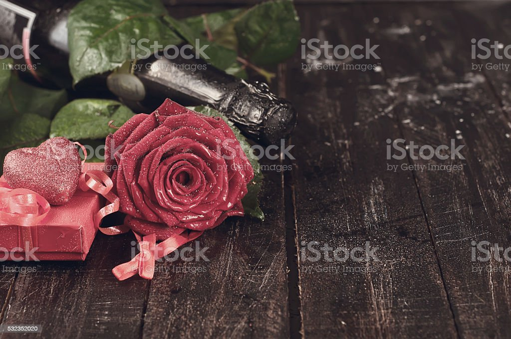 Valentine's day roses and champagne stock photo