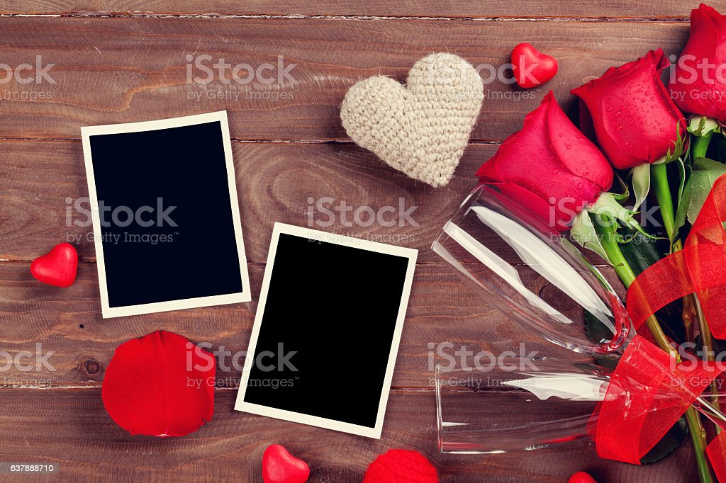 valentines day roses photo frames and champagne glasses royalty free stock photo - Valentines Picture Frames