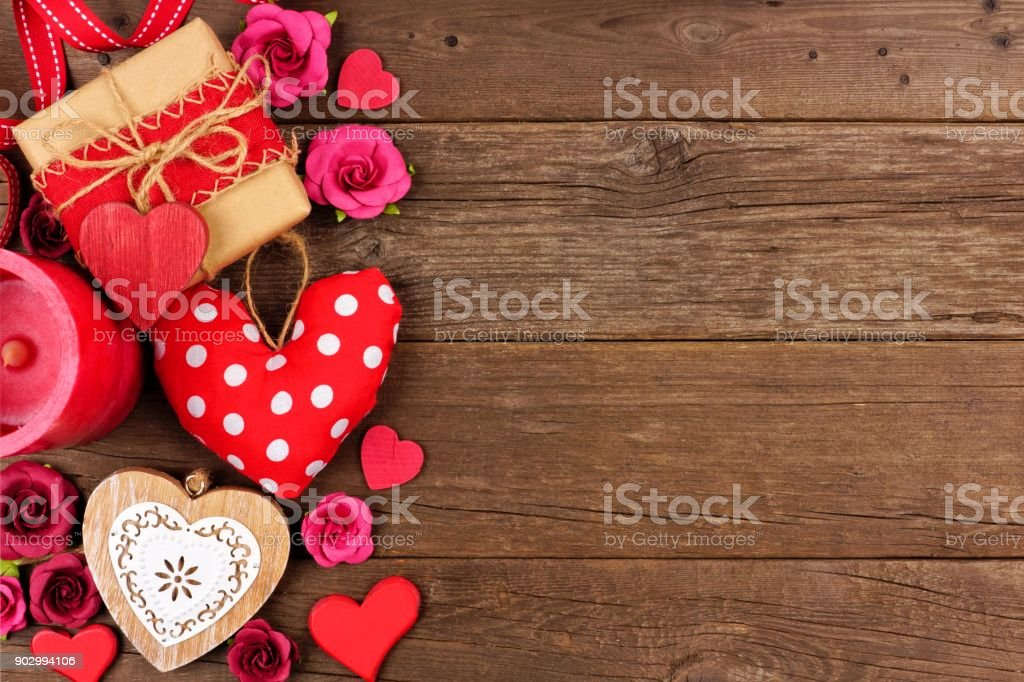 Valentines Day Side Border Of Hearts Gifts Flowers And Decor On