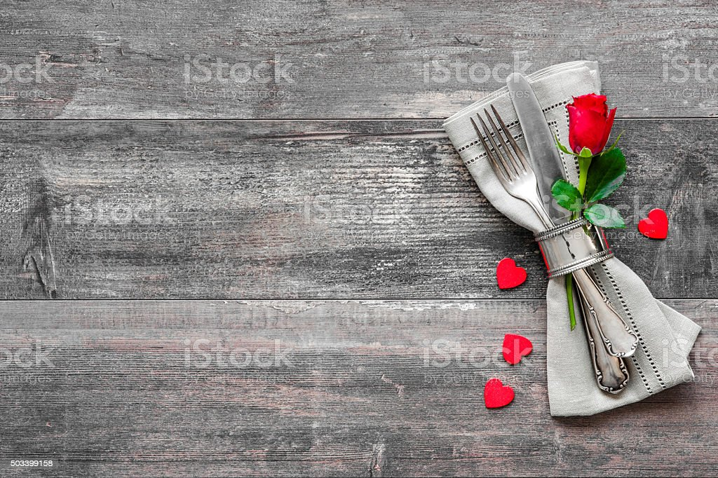 Valentines day table place setting stock photo
