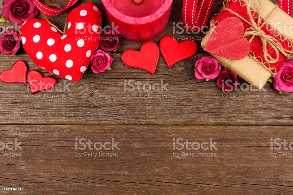Valentines Day Top Border Of Hearts Gifts Flowers And Decor On