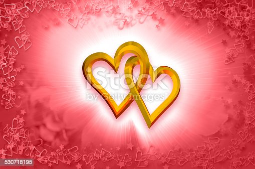 istock Valentine's Day - Two Gold Hearts 530718195