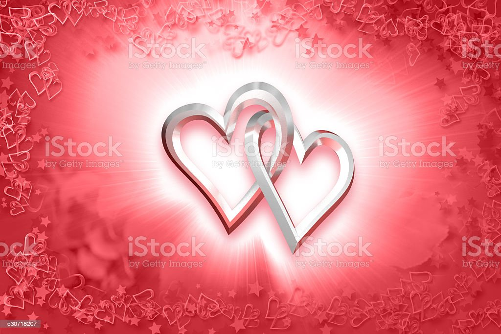 Valentine's Day - Two Silver Hearts stock photo
