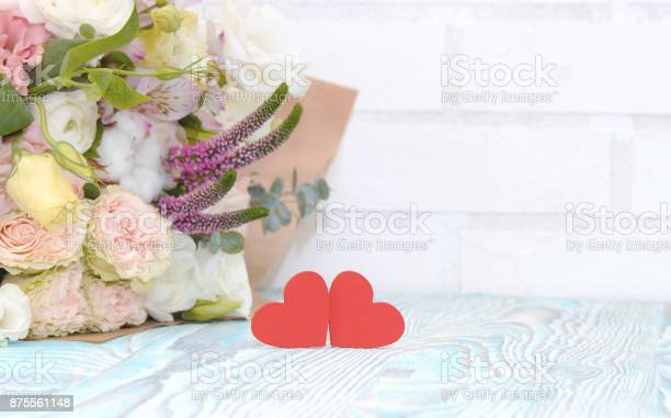Valentines day valentine gift red hearts and bouquet of flowers on picture id875561148?b=1&k=6&m=875561148&s=612x612&h=nnoyc4qemq 9i7o9bk6r9 tvq1pz3lx9a3pteqpw2wa=