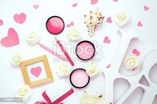 825251738 istock photo Valentines day, wedding, engagement pink flat lay, top view. Present gift box, ribbon, hearts, rose flowers, sign Love 1200611020