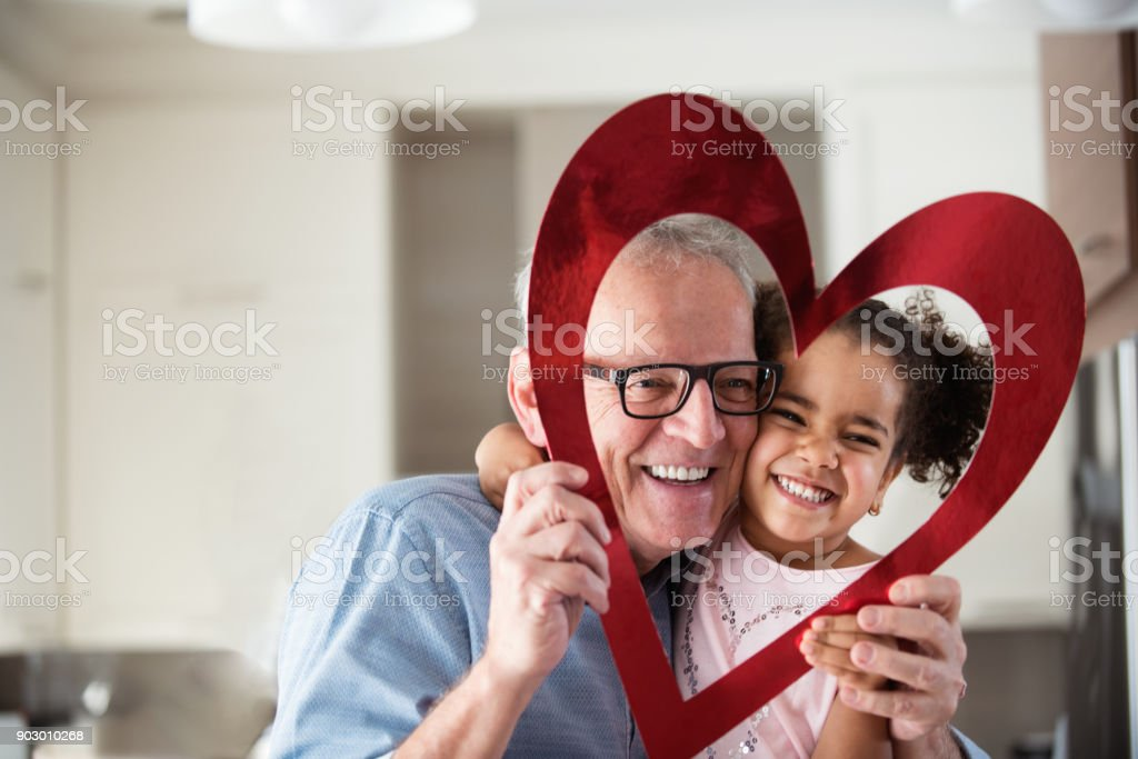 Valentine's Day with multi-ethnic family - foto stock