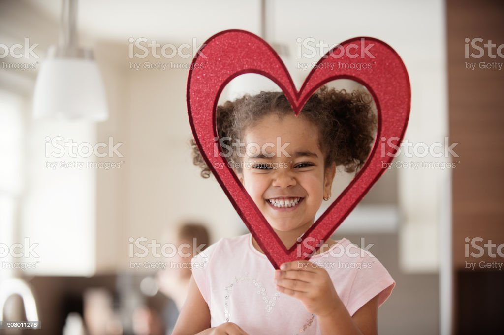 Valentine's Day with multi-ethnic family stock photo