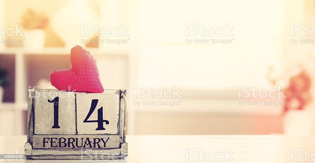 Valentines day with wooden block calendar stock photo