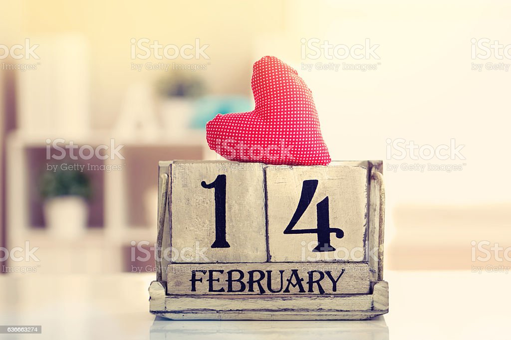 Valentines day with wooden block calendar – Foto