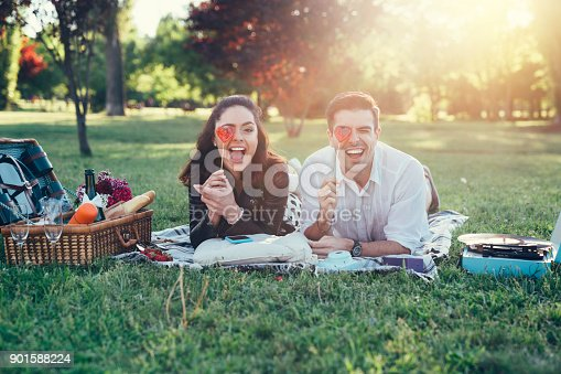 Lovely couple having fun with heart shaped lollipops at picnic