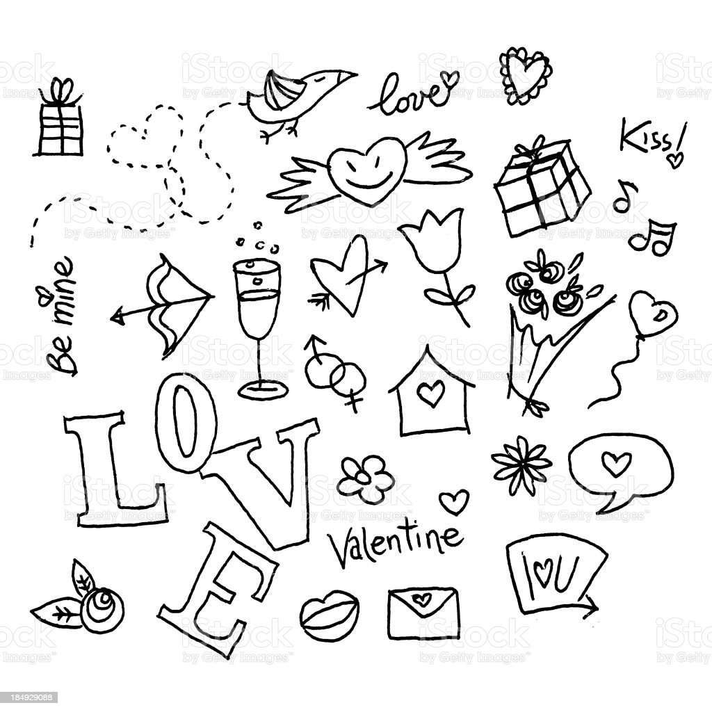 Valentine's doodles stock photo