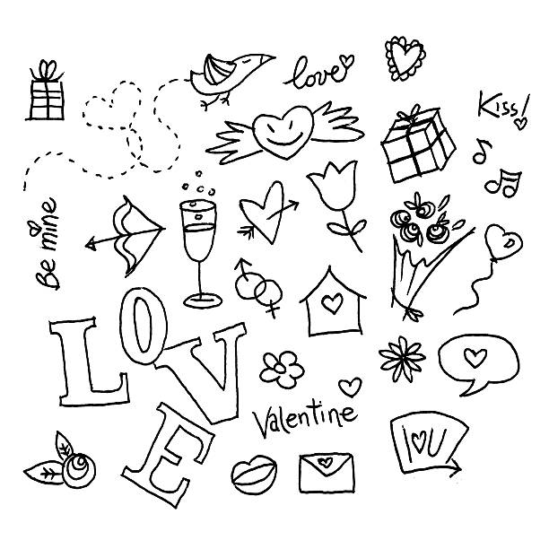valentine's doodles - doodle stock photos and pictures