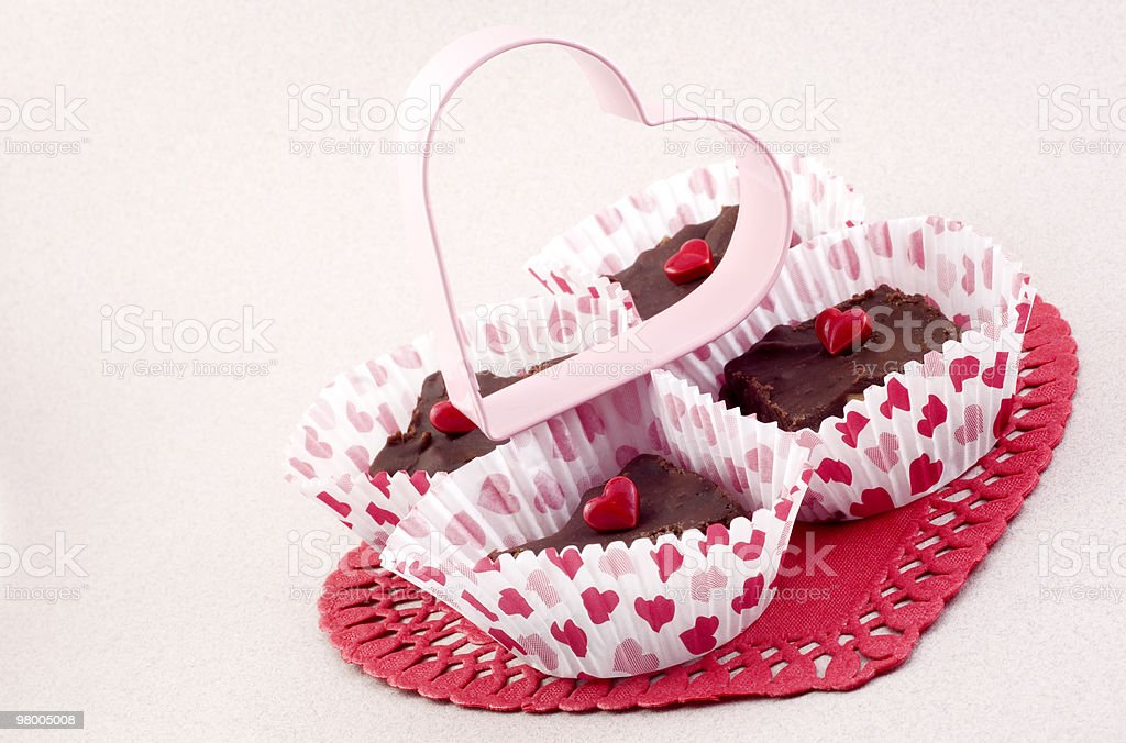 Valentines Fudge with Pink Heart royalty-free stock photo