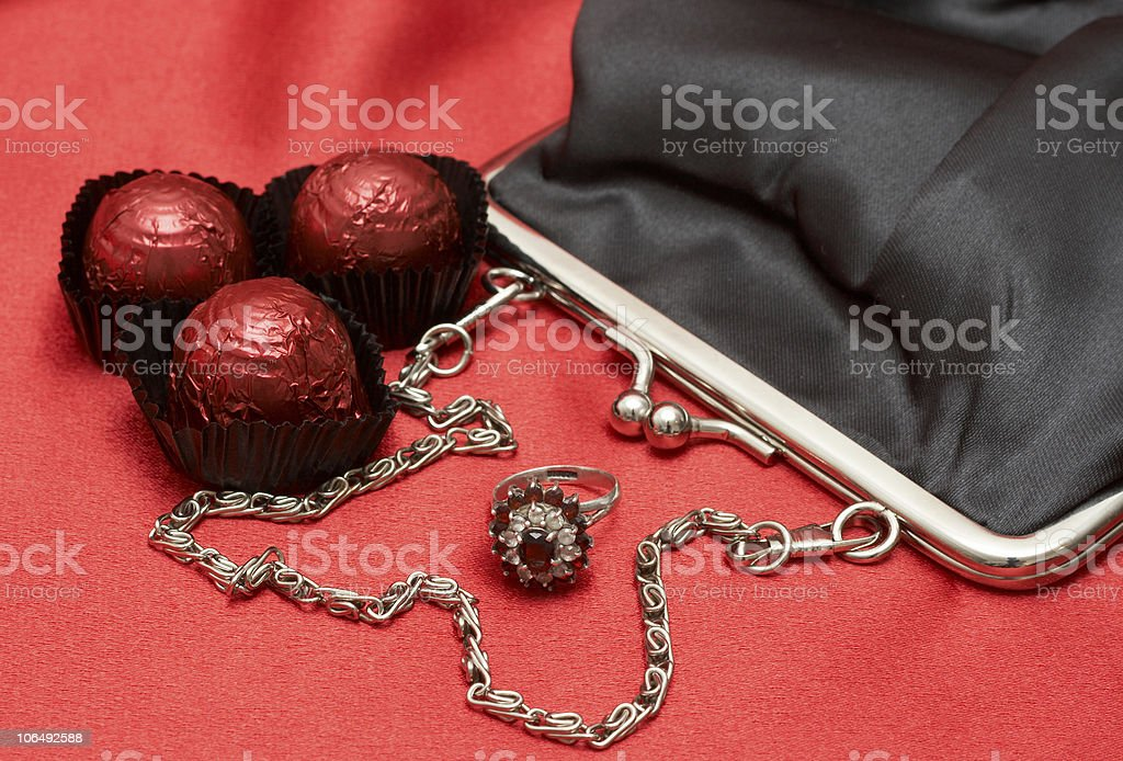 Valentines gifts with chocolates stock photo