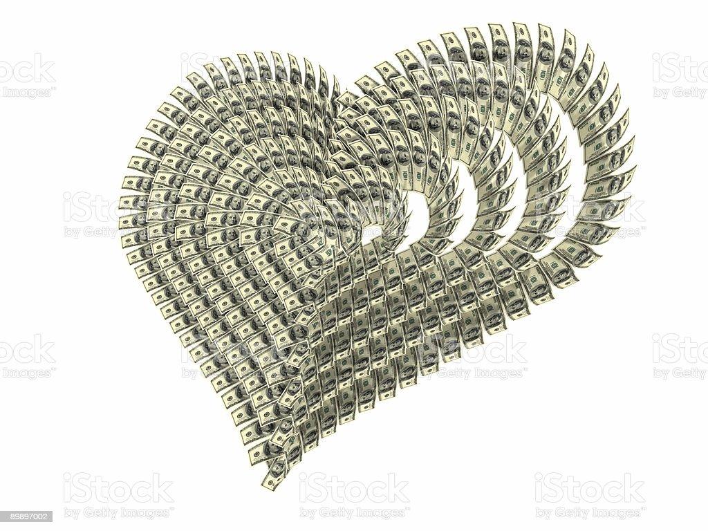 Valentine's corazón realizados en dólares foto de stock libre de derechos