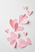 pink hearts as a background for valentines day