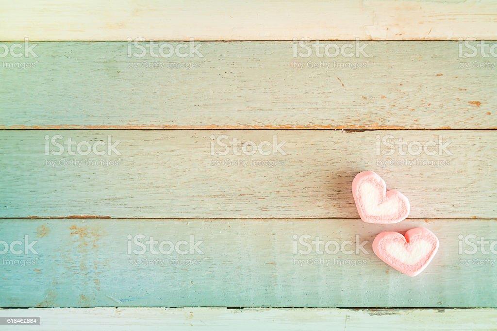 Valentine's sweet candy heartshape  old wood background stock photo