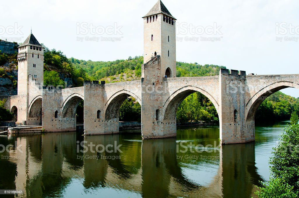 Valentre Bridge - Cahors - France stock photo