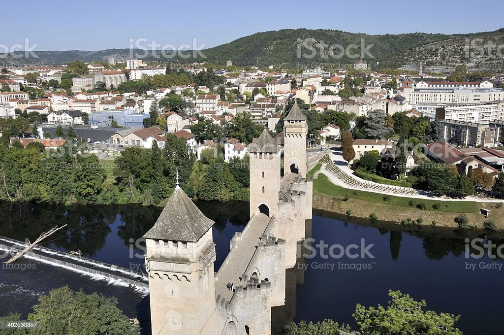 Valentre bridge in Cahors (France) stock photo