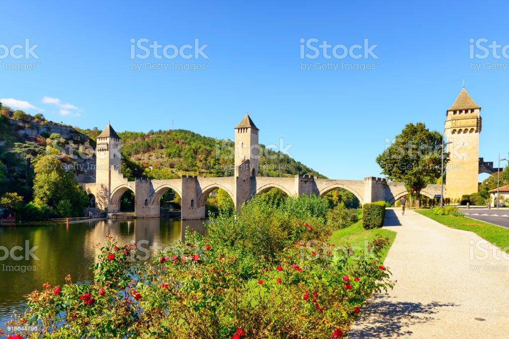 Valentre Bridge of Cahors, France stock photo