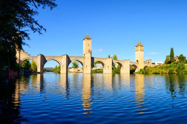 Valentre bridge on Lot river Cahors, France stock photo
