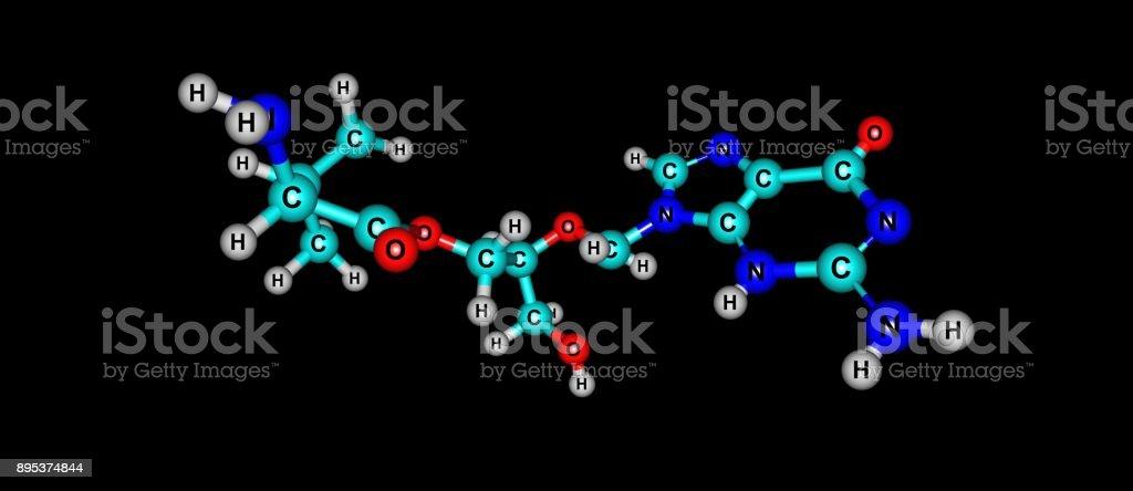 Valganciclovir molecular structure isolated on black stock photo