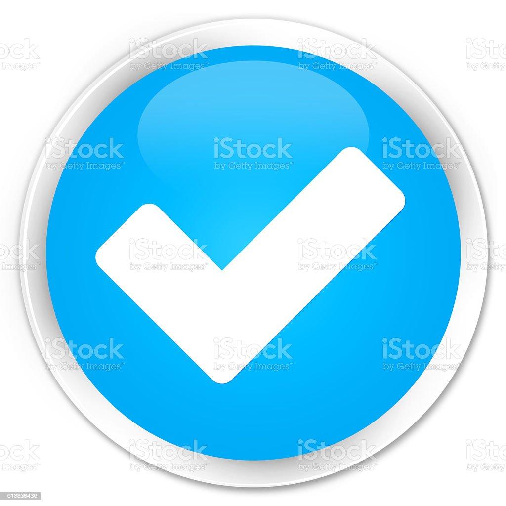 Validate icon cyan blue glossy round button stock photo