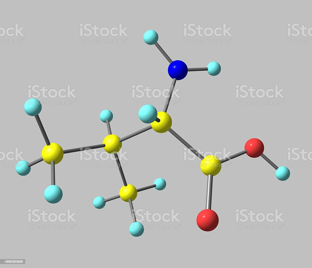 Valine molecule isolated on grey stock photo