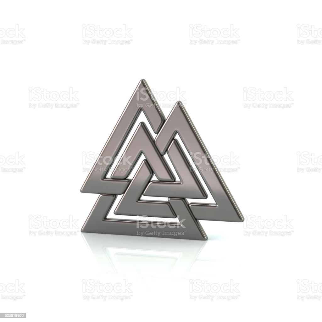 Valknut,silver Viking symbol of three interconnected triangles stock photo