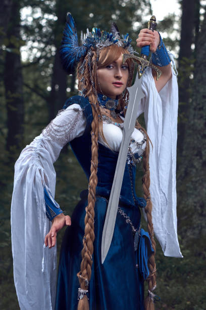 Valkyrie warrioress in magpie costume. Styling for the Scandinavian women's costume of the Viking Age. stock photo